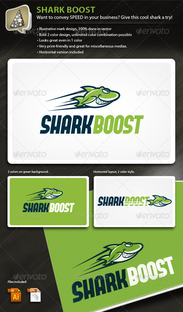 Graphic River SharkBoost Illustrative Mark for Speedy Business Logo Templates -  Animals 503855