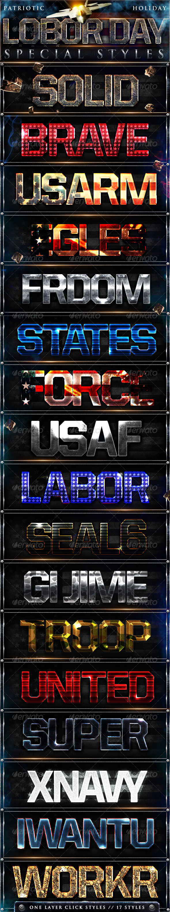 Graphic River Labor Day Photoshop Styles Add-ons -  Photoshop  Styles  Text Effects 507388