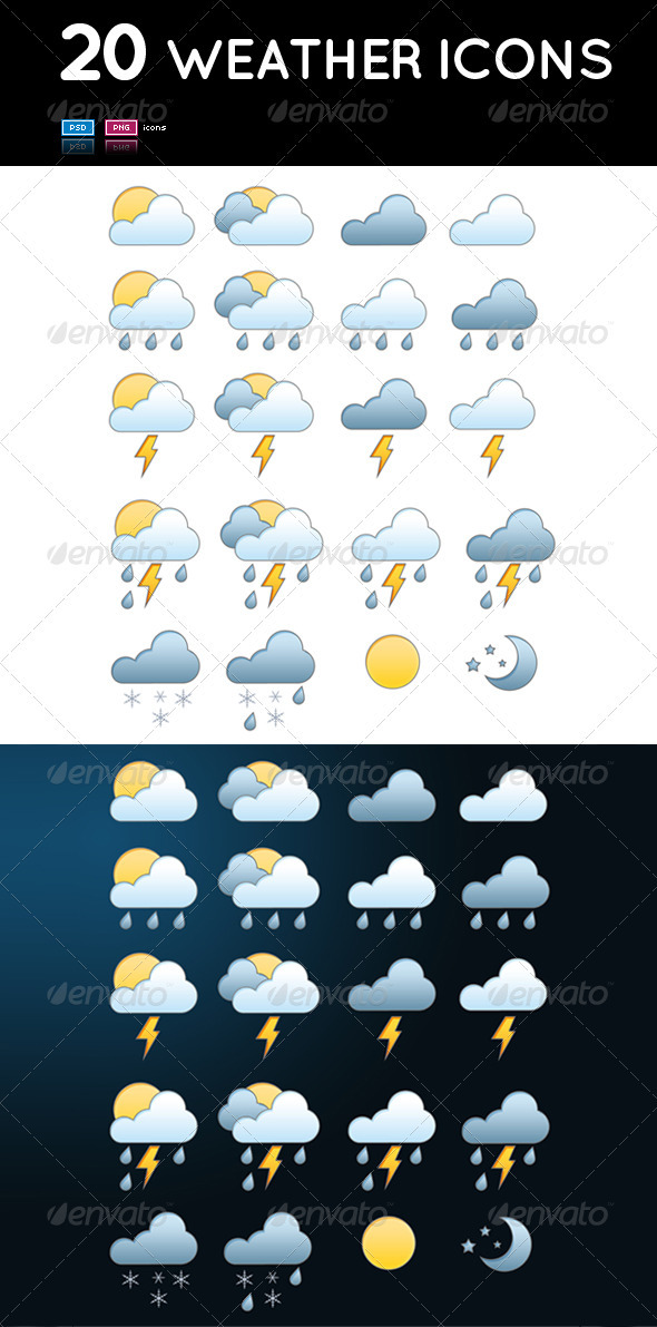 Graphic River Set of 20 Weather Icons Icons -  Web 508855