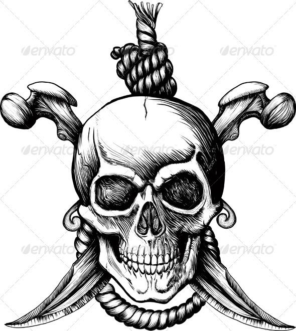 Graphic River Jolly Roger Skull Vectors -  Tattoos 509354
