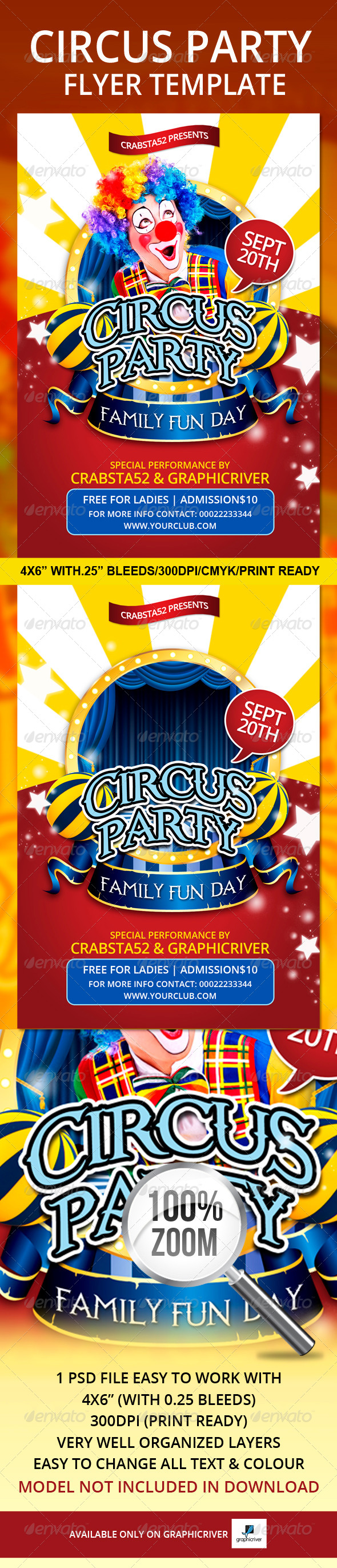 circus party flyer template graphicriver. Black Bedroom Furniture Sets. Home Design Ideas