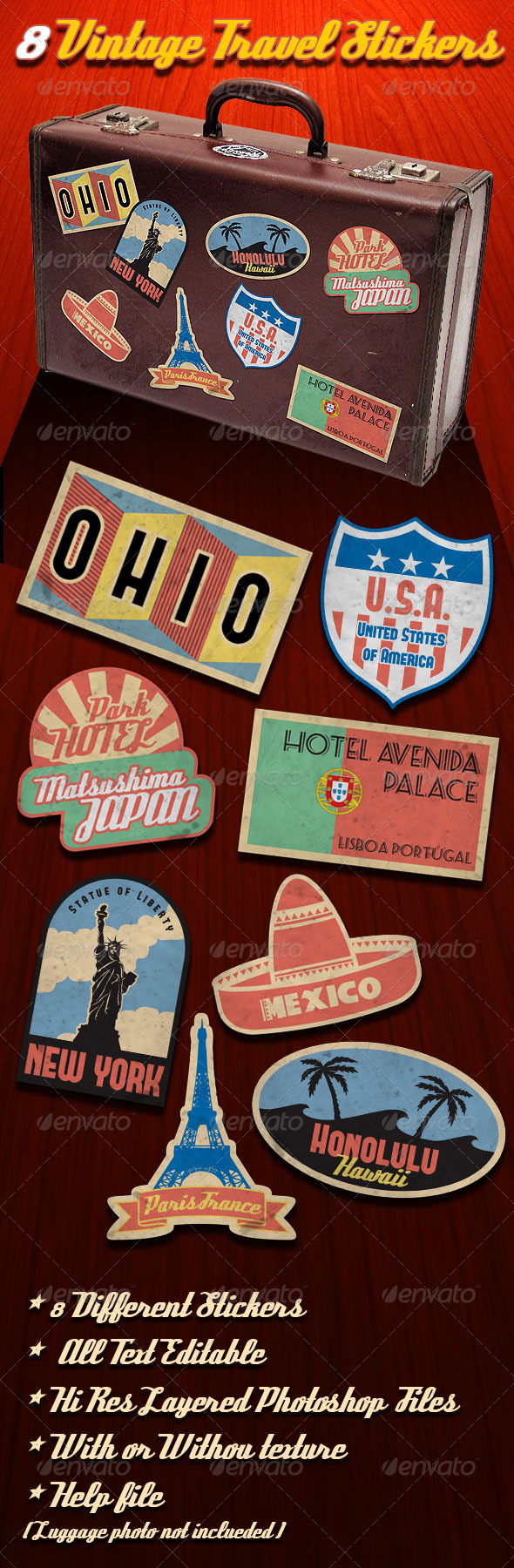 GraphicRiver Vintage Travel Stickers 511141
