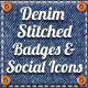 Denim Stitched Badges Ribbons & Socials Icons - GraphicRiver Item for Sale