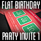 Flat Retro Birthday Party Invite I - GraphicRiver Item for Sale