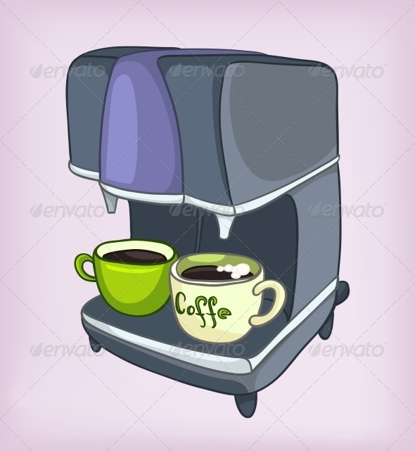 GraphicRiver Cartoons Home Appliences Coffee Maker 4970461