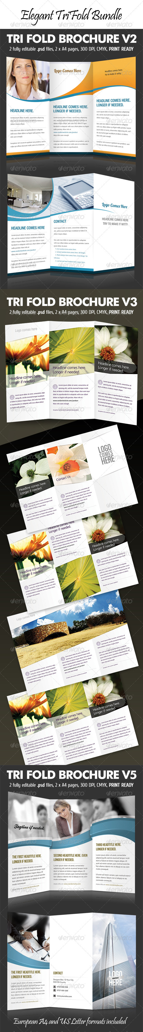 GraphicRiver Elegant Tri-Fold Bundle 515339