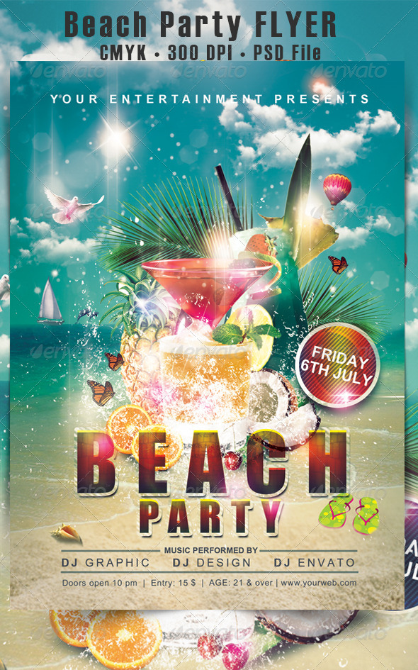 GraphicRiver Beach Party Flyer 4948587