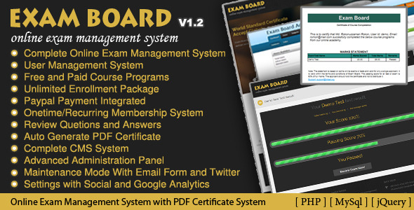 Code Php themes: Exam Board Online Exam Management System