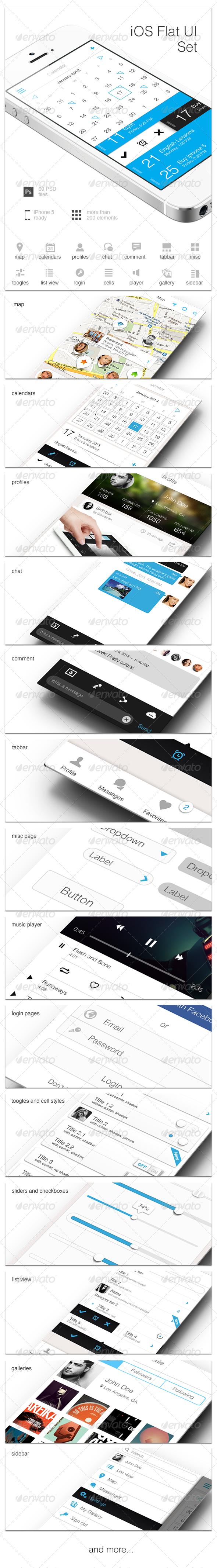 iOS Flat UI Set - User Interfaces Web Elements