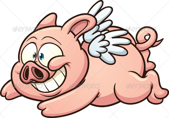 Cartoon Flying Pig   GraphicRiver