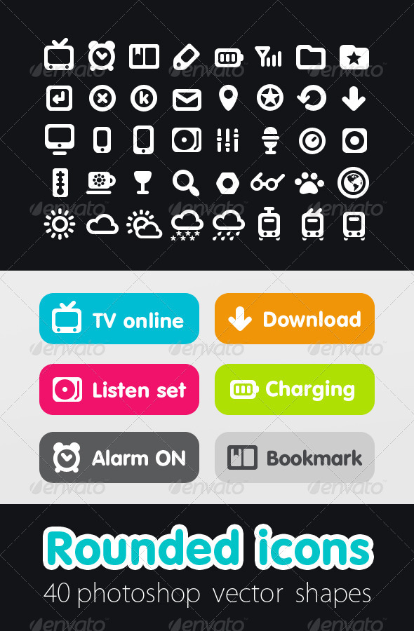 GraphicRiver Rounded Icon Set 521325