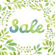 Watercolor Leaves Wreath with the word SALE - GraphicRiver Item for Sale