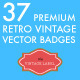 37 Premium Retro Vintage Vector Badges  - GraphicRiver Item for Sale