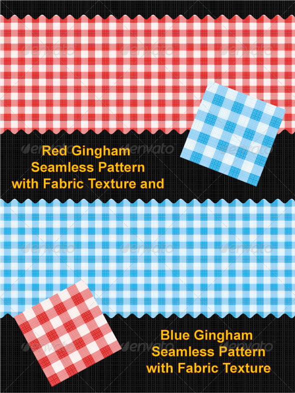 GraphicRiver Red and Blue Gingham Seamless Patterns 527745