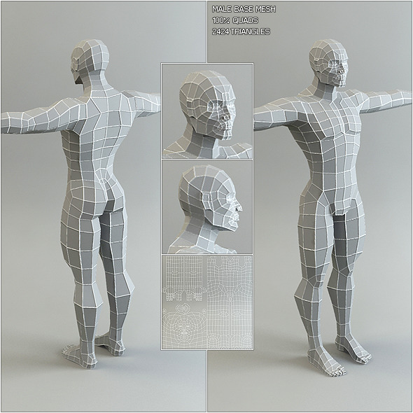 3DOcean Low Poly Base Mesh Male 527913
