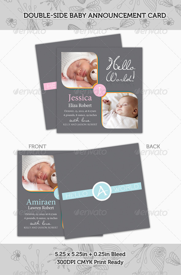 GraphicRiver Boy Girl Baby Announcement Card 03 528478