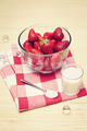 Retro edited closeup of fresh strawberries in a bowl - PhotoDune Item for Sale