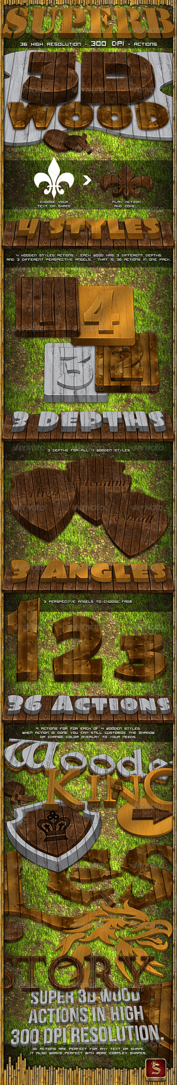 GraphicRiver 3D Wood Generator Actions 531941