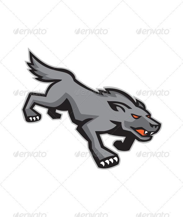 GraphicRiver Wild Dog Wolf Stalking Retro 5178216