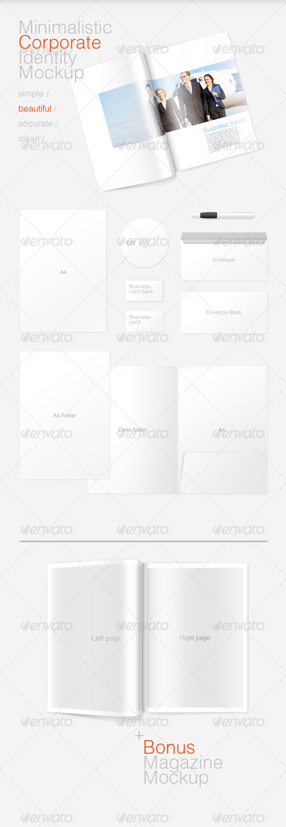 GraphicRiver Minimal Corporate Identity and Magazine Mockup 534997