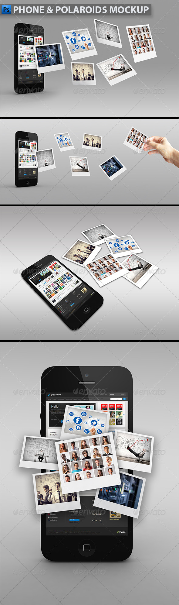 GraphicRiver Phone with Polaroids Mock-up 5236333