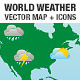 World Weather Forecast Map and Icons - GraphicRiver Item for Sale