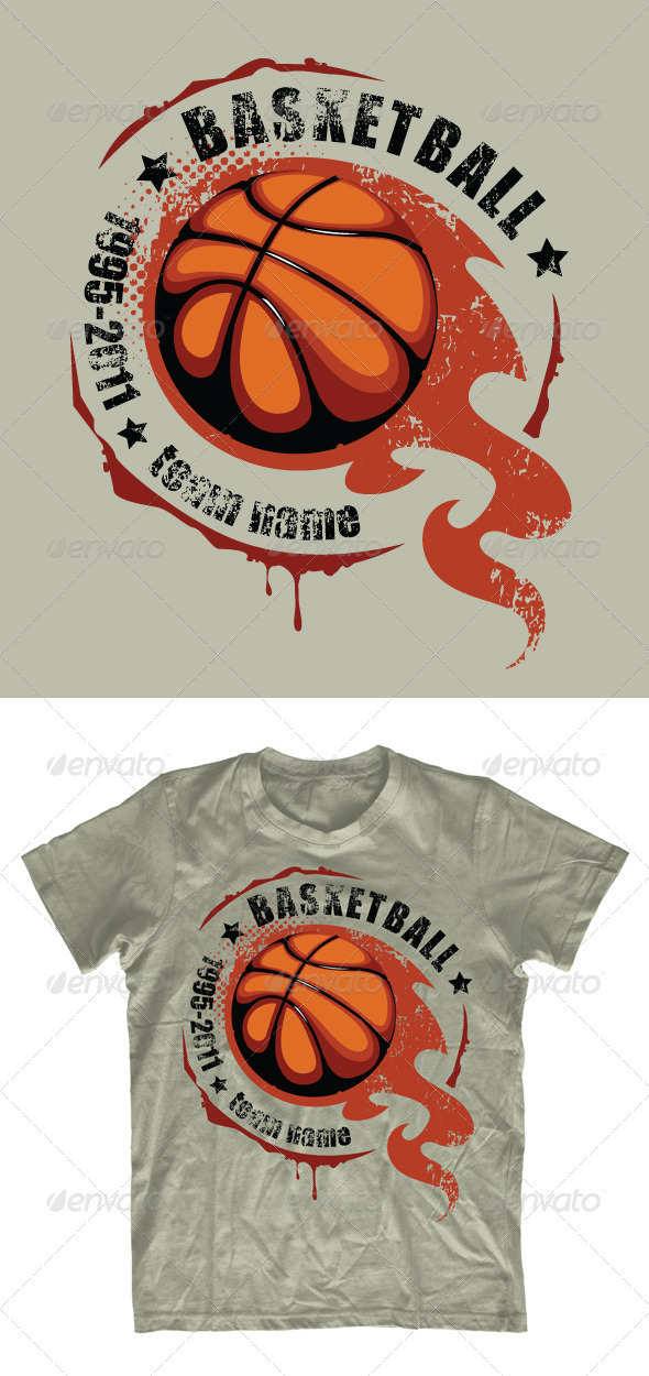 GraphicRiver Grunge basketball T-shirt design 542399