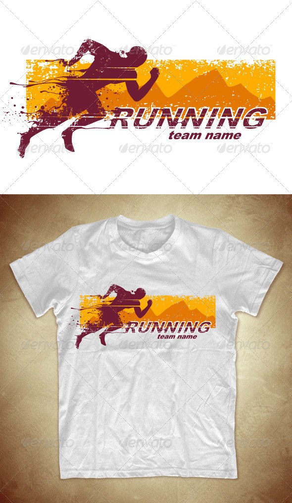 GraphicRiver Grunge T-shirt design with running athlete 542405