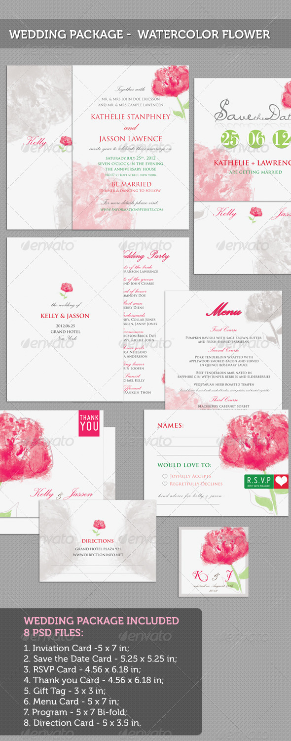 Graphic River [ Wedding Package ] Watercolor Flower Print Templates -  Cards & Invites  Weddings 543326