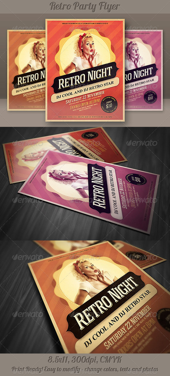 GraphicRiver Retro Night Party Flyer 5293987