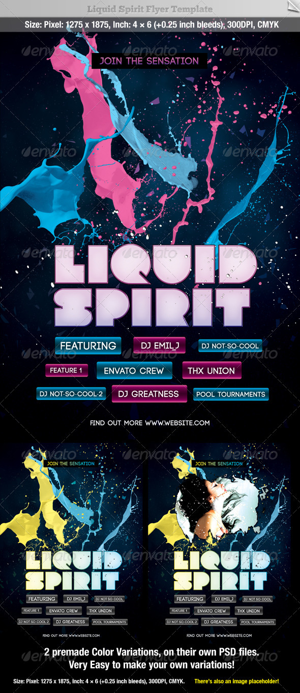 GraphicRiver Liquid Sprit Flyer Template 546895