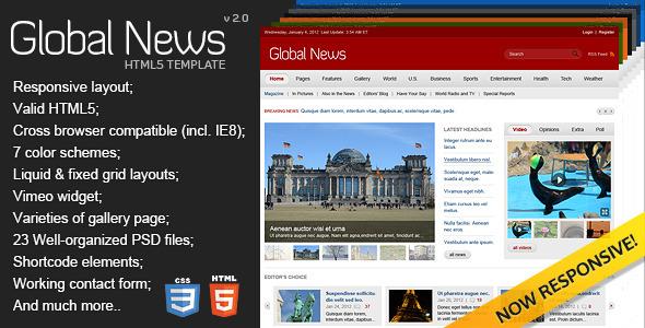 Global News Portal Html5 Css3 Template
