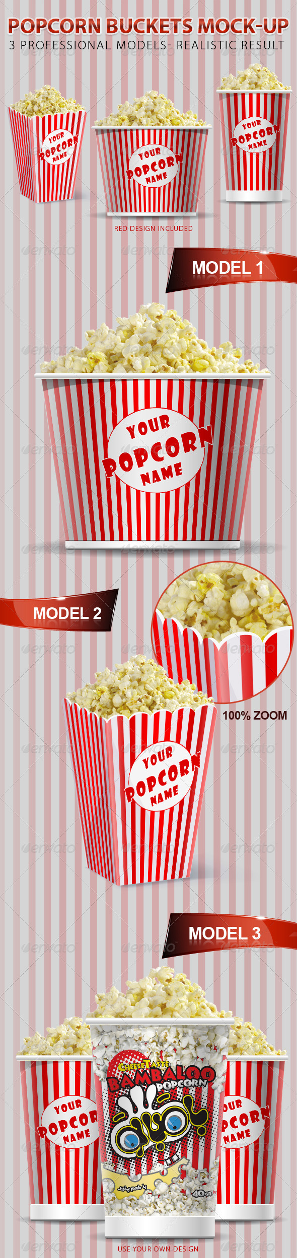Graphic River Popcorn Buckets Mock-up Graphics -  Product Mock-Ups 548294
