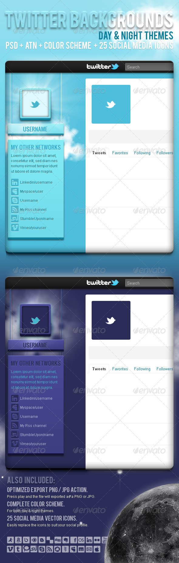 GraphicRiver Twitter Backgrounds Day & Night 549172