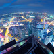 Fisheye Lens view of City skyline at night - PhotoDune Item for Sale