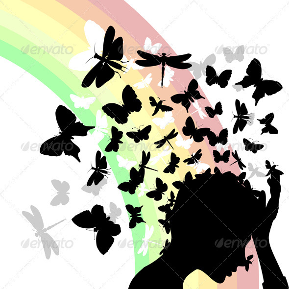 Graphic River Butterflies from a head2 Vectors -  Characters  People 550160