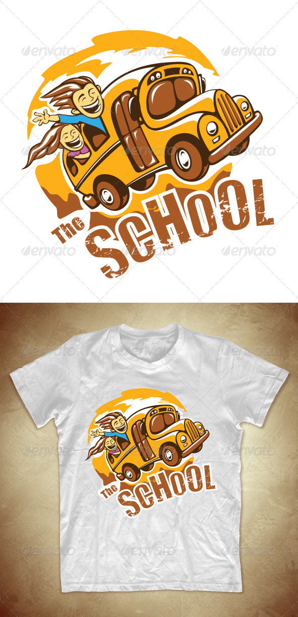 T shirt design with school bus graphicriver for School t shirt designs
