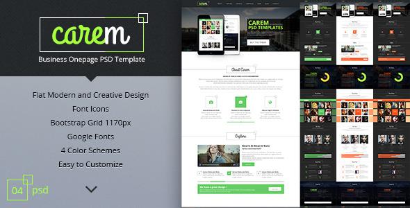 Carem - Corporate Onepage PSD Template - Business Corporate