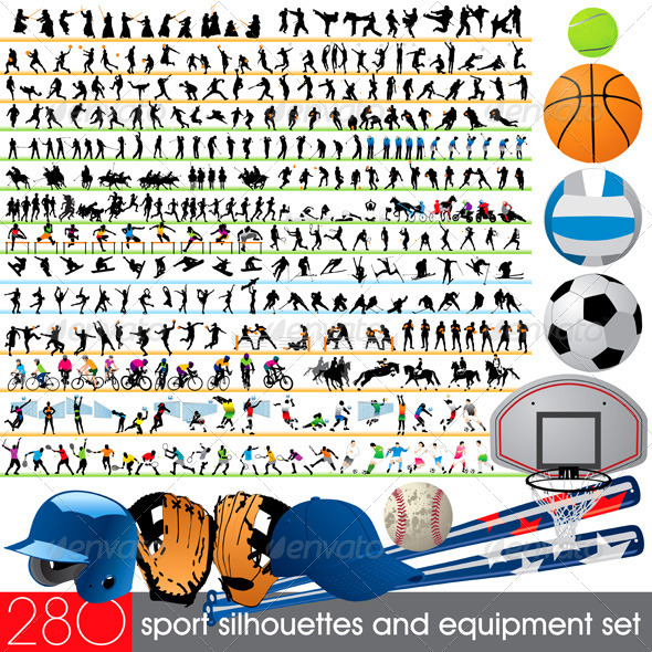 GraphicRiver 280 Sport Silhouettes and Equipment Set 553804