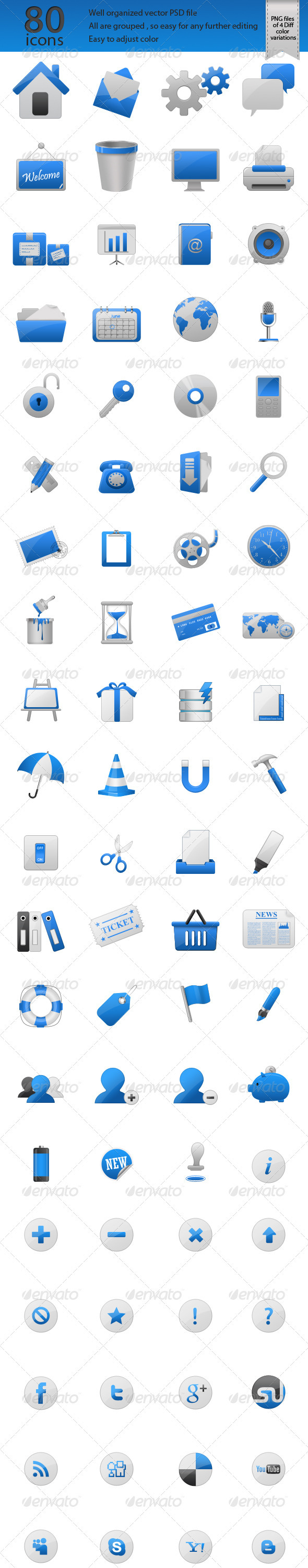 GraphicRiver 80 Glossy Web Icons 555887