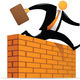 Orange Head Man jumping through wall - PhotoDune Item for Sale