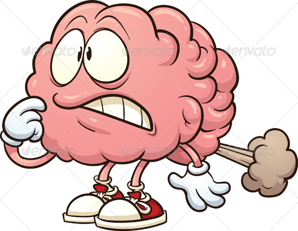 ... brain having a brain fart. Vector clip art illustration with