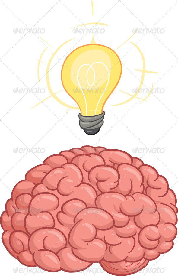 Cartoon brain having an idea. Vector clip art illustration. All in a ...