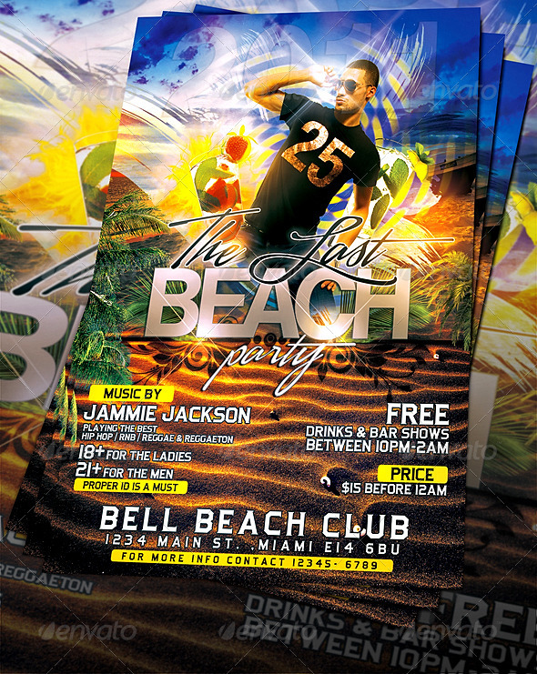 GraphicRiver Last Beach Party Flyer Template 561404