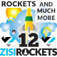 12 Rockets 3 Planets 8 Clouds 6 Sky 4 Flat UI - GraphicRiver Item for Sale
