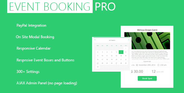 Event Booking Pro WP Plugin – ( PayPal and Modal ) (Calendars) images