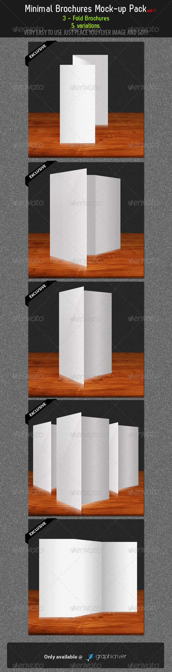 GraphicRiver Minimal Brochures Mock-up Pack 1 292245