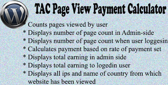TAC Page View Payment Calculator  (WordPress) images