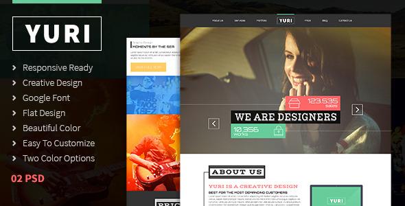 Yuri - One Page Flat Portfolio PSD Template - Portfolio Creative