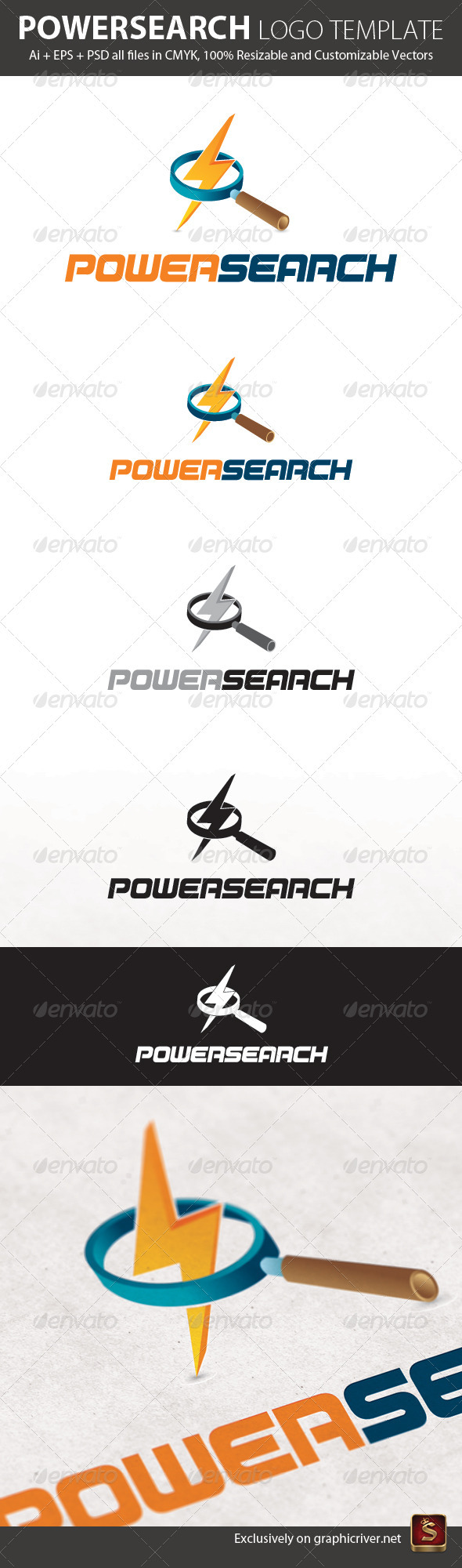 Graphic River Powersearch Logo Template Logo Templates -  Objects 576133
